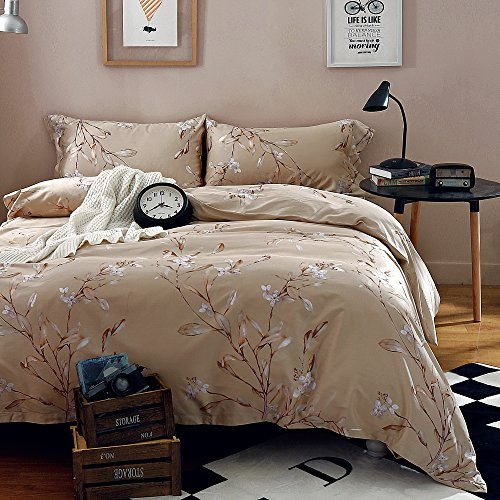 (Vintage Botanical Flower Print Bedding 400tc Cotton Sateen Romantic Floral Scarf Duvet Cover 3pc Set Colorful Antique Drawing of Summer Lilies Daisy Blossoms (Queen, Natural))