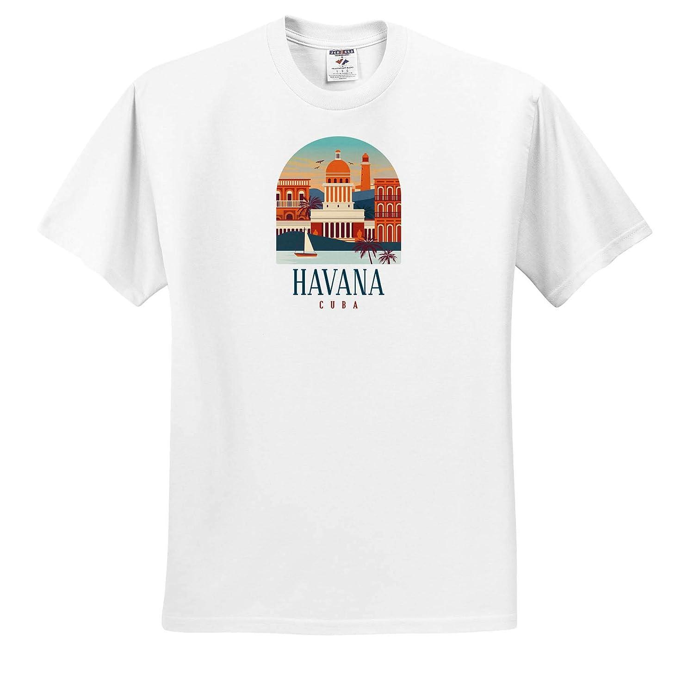 ts/_310985 Adult T-Shirt XL Vintage Illustration of Cuba Havana for Traveling 3dRose Sven Herkenrath City