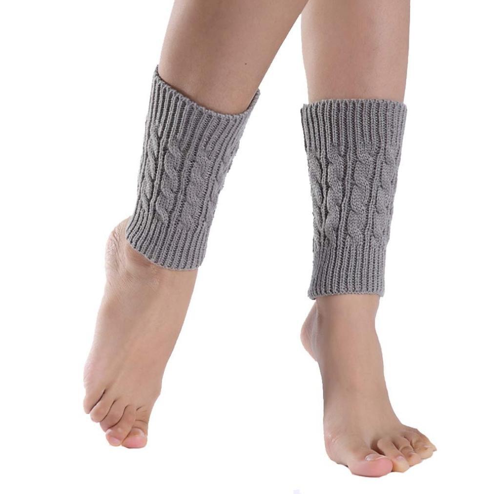 Malloom® Tejer calcetines cortos calentadores de la pierna cubierta de arranque polainas (gris)