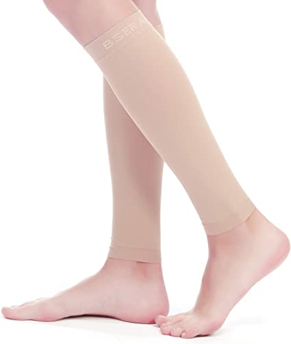 Beige M Maternity KEKING Leg Compression Socks 20-30mmHg Strong Calf Support 1 Pair for Unisex Calf Pain Relief Varicose Veins Shin Splint Lightweight Calf Compression Sleeves Swelling DVT