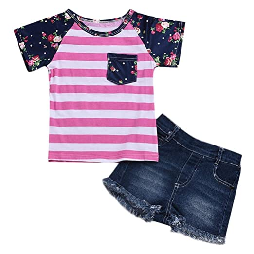67d3d00ff Amazon.com: Toddler Baby Girls Clothes Sets 6 Months-4T,Fashion Lovely  Striped Floral Print Top T-Shirt Denim Shorts Set Outfits: Clothing