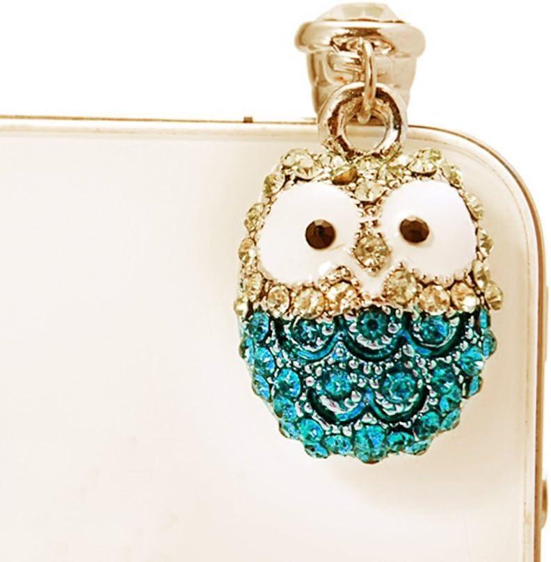 iPad HTC Blue GeKLok Lovely Owl Diamond Universal 3.5mm Anti Dust Earphone Jack Plug Cap Diamond Pendants for iPhone5//6//7//8 Samsung