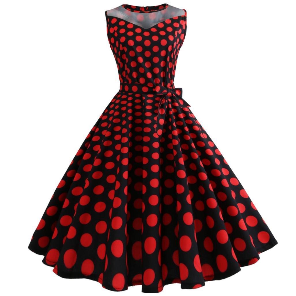 uface Women s Sleeveless Malla Stitching Wave Point Retro Dress Printing Sleeveless Malla Patchwork Outdoor, color rojo, tamaño large: Amazon.es: Deportes ...