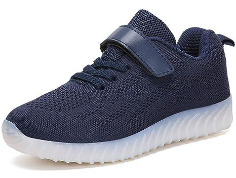 GJRRX LED Zapatos Primavera-Verano-Otoño Transpirable Zapatillas LED 7 Colores Recargables Luz Zapatos
