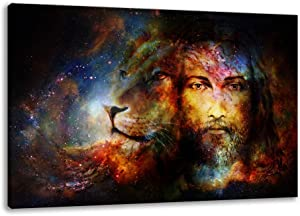 Lion Wall Art Jesus Wall Art Home Decoration Pictures of Jesus Christ Canvas Art Wall Decor Religious Pictures Paintings for Bedroom Living Room Framed Hanging(24x36inchx1Panels)