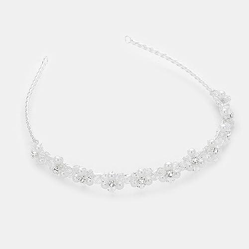Gioielli ANT Sinfonia matrimonio sposa gioielli Diademe Cerchietto fiori  perle perline di cristallo trasparente bianco caldo trasparente  Amazon.it   ... d894b517139d