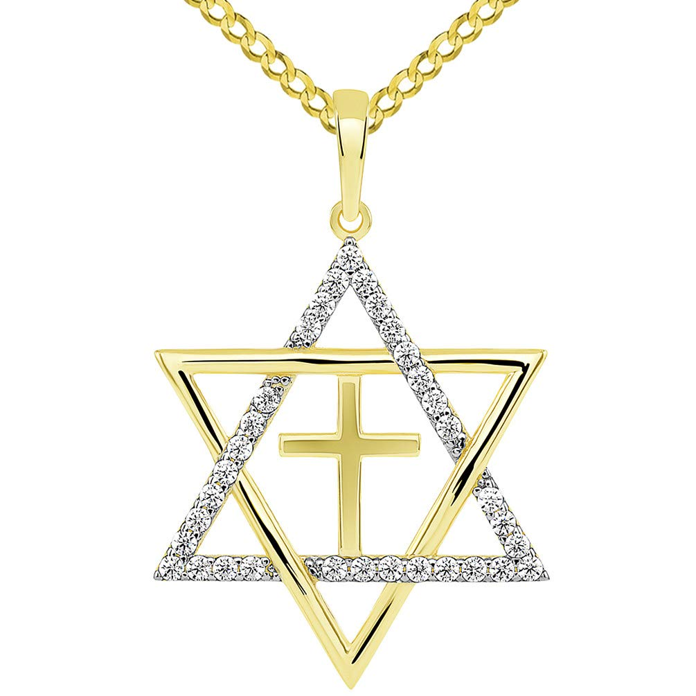 14k Yellow Gold Large CZ Star of David with Religious Cross Judeo Christian Pendant Cuban Necklace, 24''