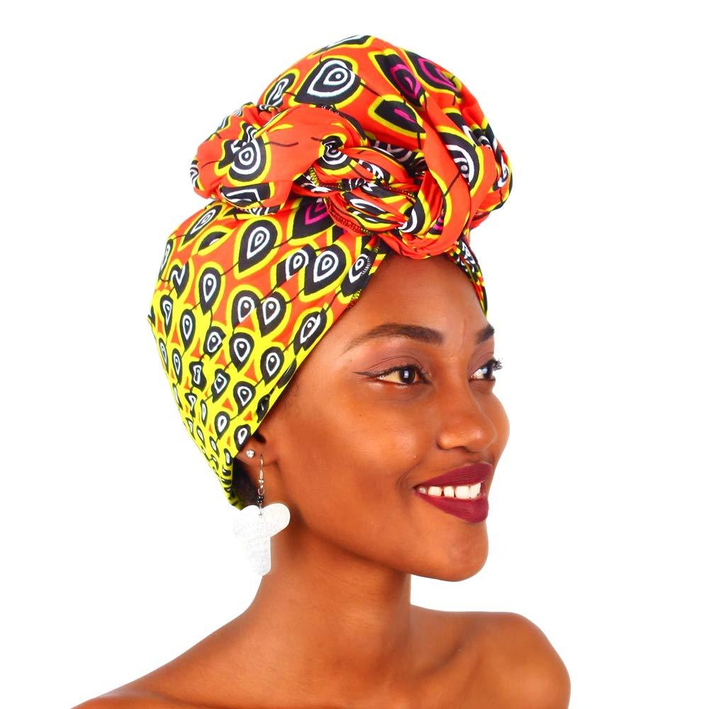 MCYSKK Traditional African Bazin Riche Wax Print Head Wrap Headtie Headwear  Nigerian Scarf Gele for Women