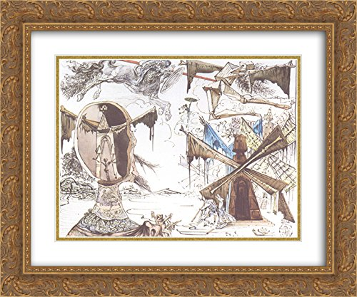 Salvador Dali 2x Matted 24x20 Gold Ornate Framed Art Print 'Don Quixote and the Windmills'