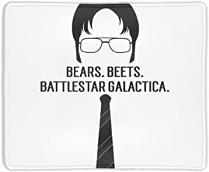 """Dwight Schrute Bears Beets Large Gaming Mouse Pad/Mat with Smooth Surface and Stitched Edges Non-Slip Rubber Base Extended Game Mouse Mat 9.8 × 11.8"""""""