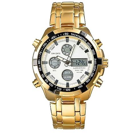 Reloj mecánico de hombre, reloj digital, acero inoxidable, resistente al agua, reloj