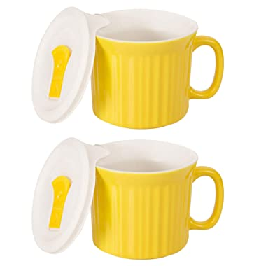 CorningWare Colours Pop-Ins 20-oz Soup Mug Vented Lid - 2 Pack (Curry)