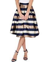 SUNNOW Women's Color Print High Waist Flare Pleated A-line Midi Skirt