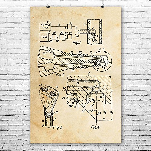 Car Vintage Honda (NO2 Injection Nozzle Poster Print, Racing Gift, Turbo Engine, Auto Mechanic, Automotive Engineer, Muscle Car, Honda Vintage Paper (18