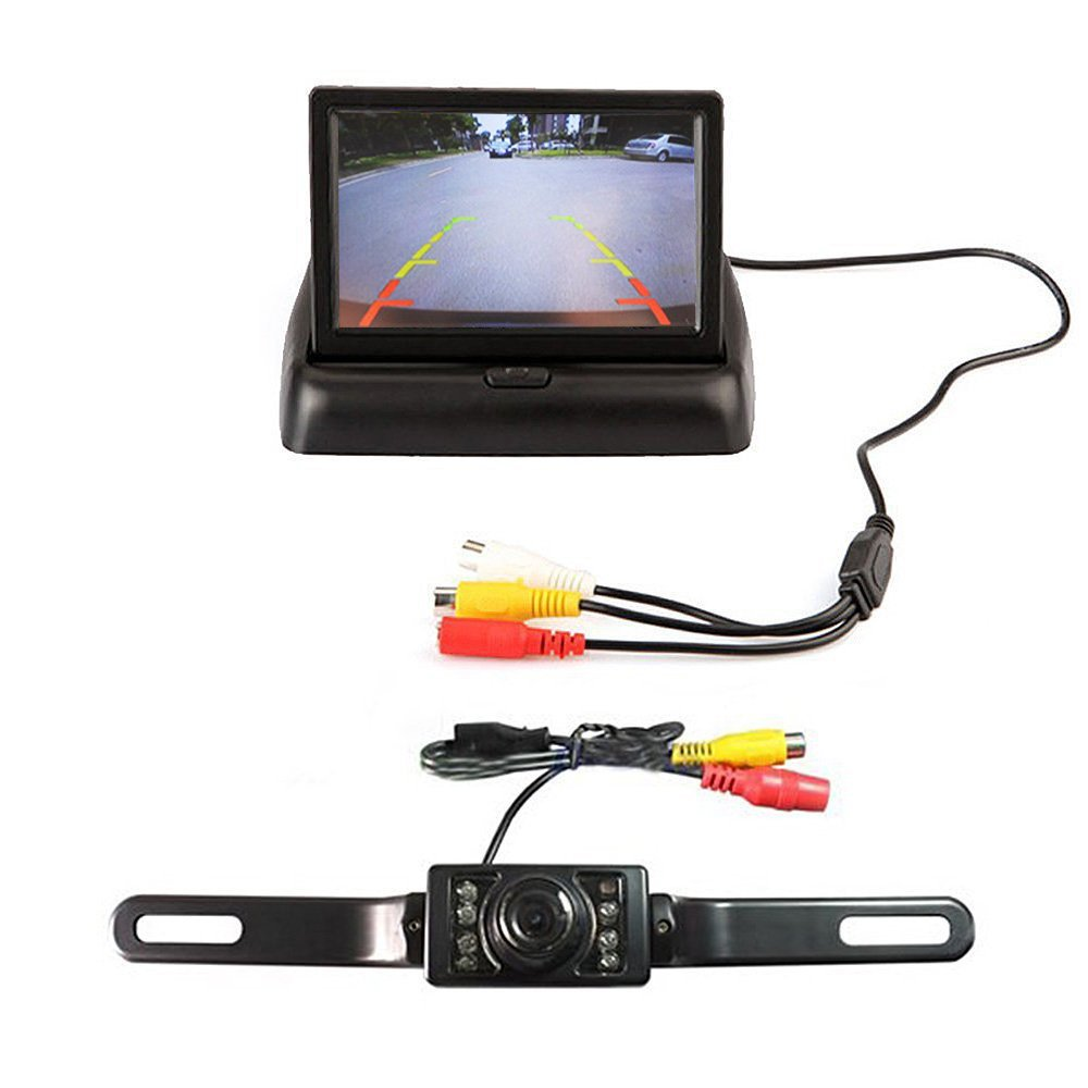 4.3inch foldable TFT LCD monitor & 17pcs LED Night Vision Car Rearview backup camera Assembly E-best car Rearview Monitor