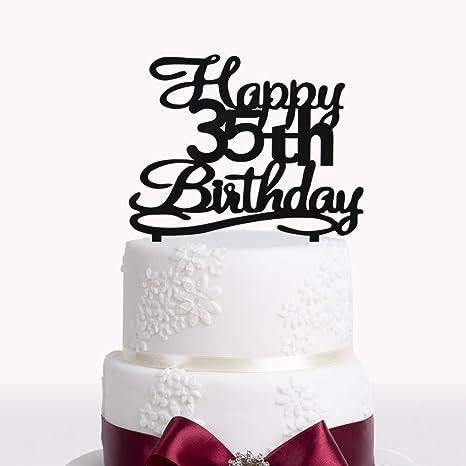 Cool Happy 35Th Birthday Cake Topper Black Acrylic Cake Topper Number Personalised Birthday Cards Sponlily Jamesorg