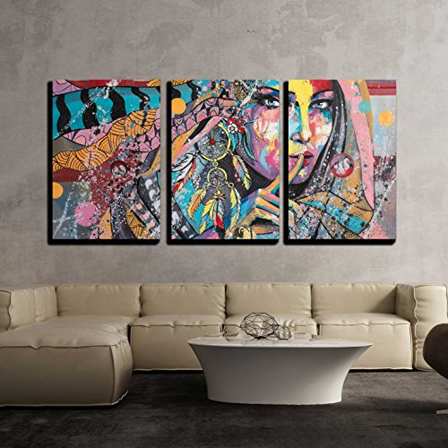 wall26 - 3 Piece Canvas Wall Art - Fantasy Portrait on a Theme of Dream Catcher Talisman of North American Lacota Tribe - Modern Home Decor Stretched and Framed Ready to Hang - 24