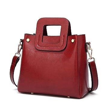 1ac8dab14 Eeayyygch Bolso Bandolera de Las Mujeres Moda Aceite de Cera de Cuero pequeño  Bolso Cuadrado Bolso móvil Diagonal (Color : Rojo, tamaño : 22 * 10 *  19CM): ...
