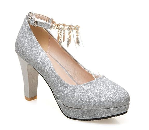 Aisun Damen Fashionable Strass Metall Runde Zehen Pumps Mit Knöchelriemchen Pink 38 EU uT2FVMY