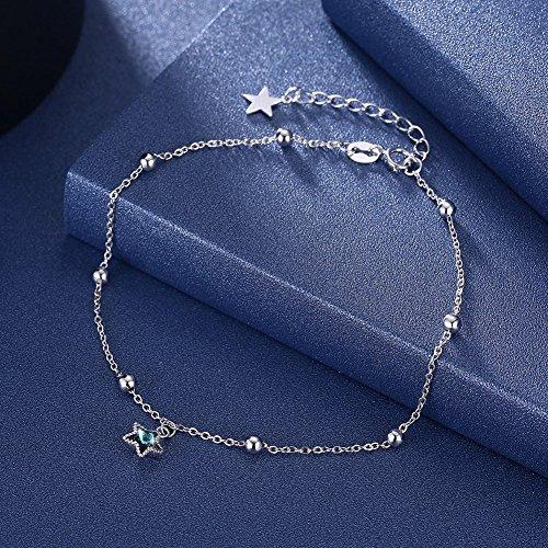 Trista99 Anklet for Women & Girls Adjustable Foot Ankle Bracelet with Swarovski Element Crystals (Blue Star Crystal) by Trista99 (Image #4)