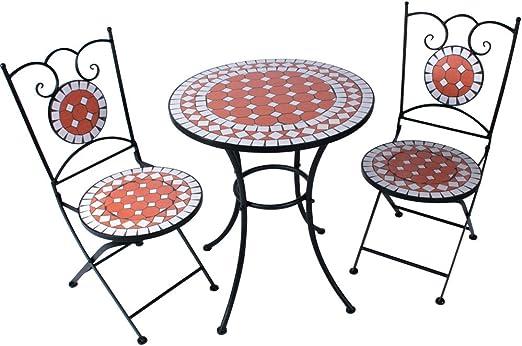 Salon de Jardin Mosaïque - Table Ronde (Ø/H: 60x70cm) et 2 Chaises Pliantes  (Hauteur de Siège: 46cm), Rouge Blanc - Design au Choix - Meuble de ...