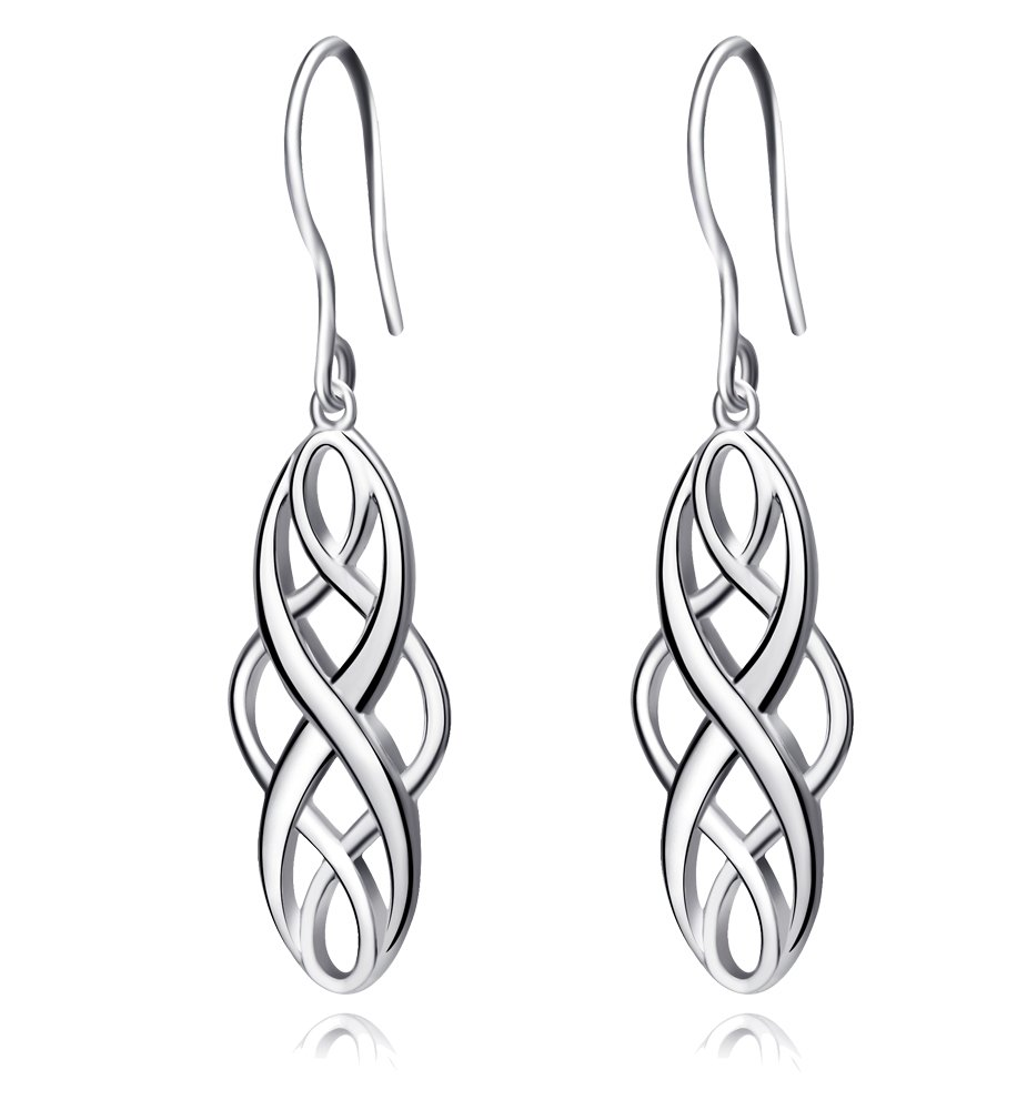 S925 Silver Earrings Solid Sterling Silver Polished Good Luck Irish Celtic Knot Vintage Dangles (Platinum)