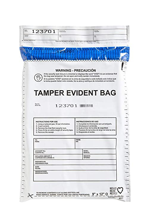 "USPACKSMART Deposit Bags for Cash Handling or Bank Deposits, Level 5 of Security Tape. Size 9""x12"" Opaque (100 Bags x Package) Ref: 809-00"
