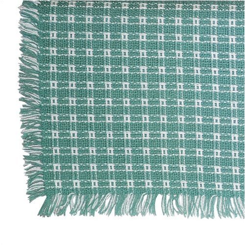 70 Inch Round Homespun Tablecloth, Hand Loomed, 100% Cotton, Seafoam/White