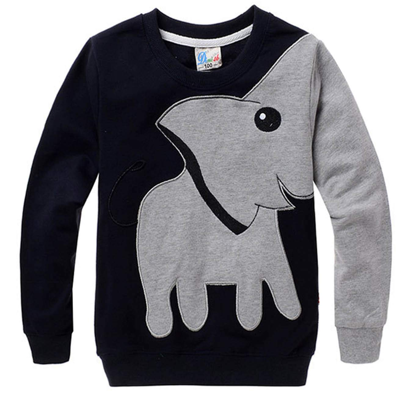 Kinder Jungen Baumwolle Sweatshirt Herbst//Winter Langarmshirt Elefant Pullover Top Kleidung Gr/ün,85-95cm