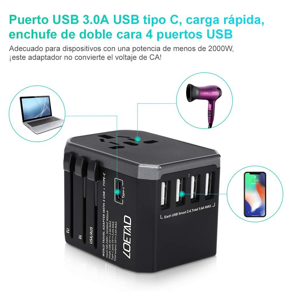 LOETAD Adaptador Enchufe de Viaje 4 Puertos USB 1 Puerto Tipo C Adaptador Enchufe Universal para US EU AU UK M/ás de 150 Pa/íses