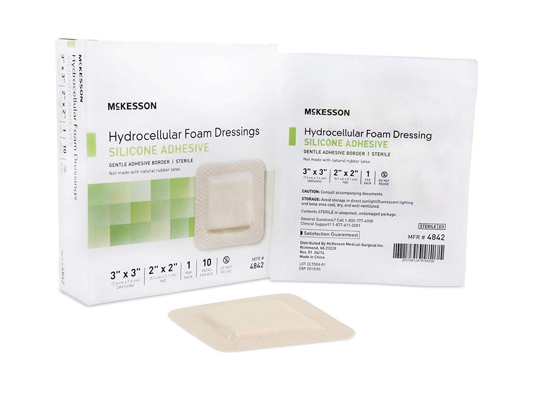 McKesson - Silicone Foam Dressing McKesson 3 X 3 Inch Square Adhesive with Border Sterile - 200/Case - McK by McKesson
