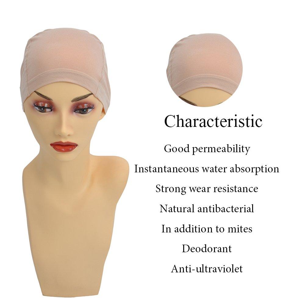 Bamboo Fiber/Sterilization/Sweat Proof/Wig Hair Stock Liner Cap Stretch Mesh Net 2PCS by BHD BEAUTY (Image #3)