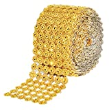 Mandala Crafts Bling Sparkling Acrylic Diamond Rhinestone Crystal Mesh Wrap Ribbon Roll for Cake Vase Centerpiece Party Wedding Decoration (Flower Pattern 4 inches 10 Yards, Gold)