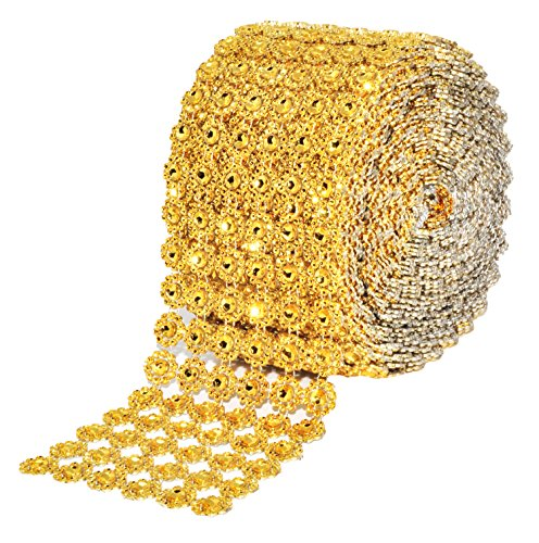 Mandala Crafts Bling Sparkling Acrylic Diamond Rhinestone Crystal Mesh Wrap Ribbon Roll for Cake Vase Centerpiece Party Wedding Decoration (Flower Pattern 4 inches 10 Yards, Gold) by Mandala Crafts