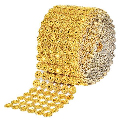 Mandala Crafts Bling Sparkling Acrylic Diamond Rhinestone Crystal Mesh Wrap Ribbon Roll for Cake Vase Centerpiece Party Wedding Decoration (Flower Pattern 4 inches 10 Yards, Gold)