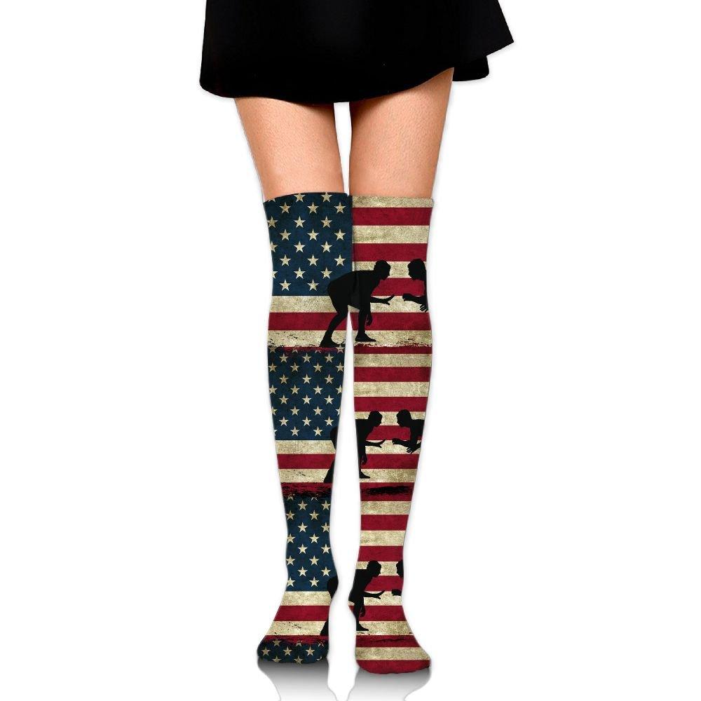 American Flag Wrestling Unisex Over Knee High Socks Extra Long Athletic Sport Tube Socks