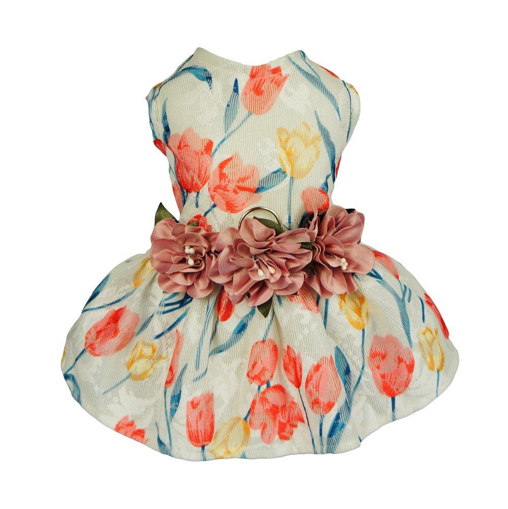Fitwarm Tulip Dog Harness Dress Pet Clothes D-ring Vest Shirts Sundress Pink XS