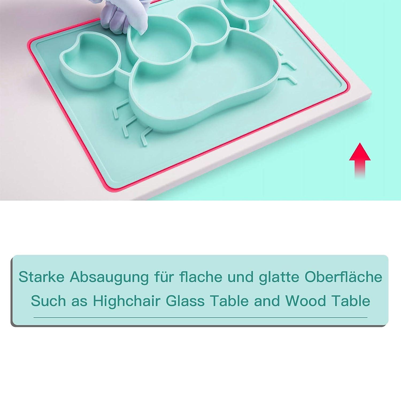 Lio SHAAR Platos de silicona para beb/é sin BPA para beb/és y ni/ños aprobado por la FDA port/átil fuertes placas de succi/ón para ni/ños peque/ños una pieza aptos para lavavajillas y microonda