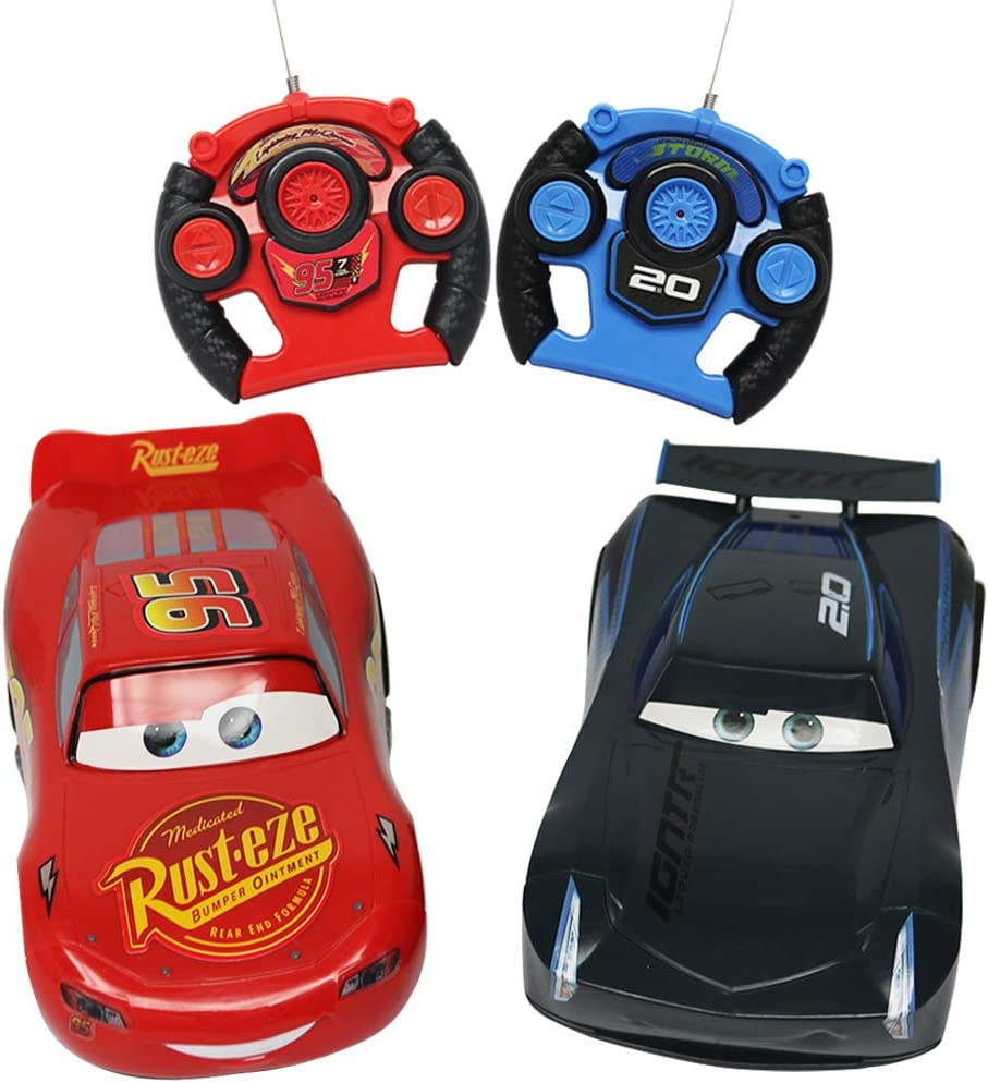 RC Cars Cartoon Lightning McQueen and Storm Racing Radio Controlled Toy Packs Suitable for Cchildren-Each Toy Has A Different Frequency and They Can Race Together
