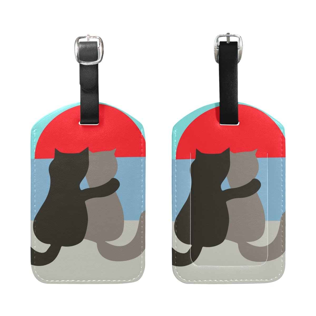 COOSUN Lover Cats Luggage Tags Travel Labels Tag Name Card Holder for Baggage Suitcase Bag Backpacks 2 PCS