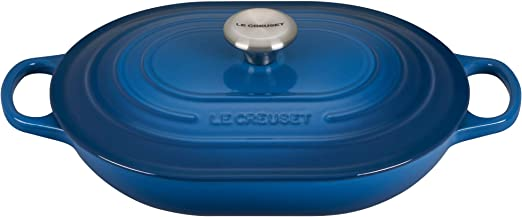 LE CREUSET 21002275602461 Traditional Oval Casserole Dish Enamelled Cast Iron Midnight Blue 27 cm