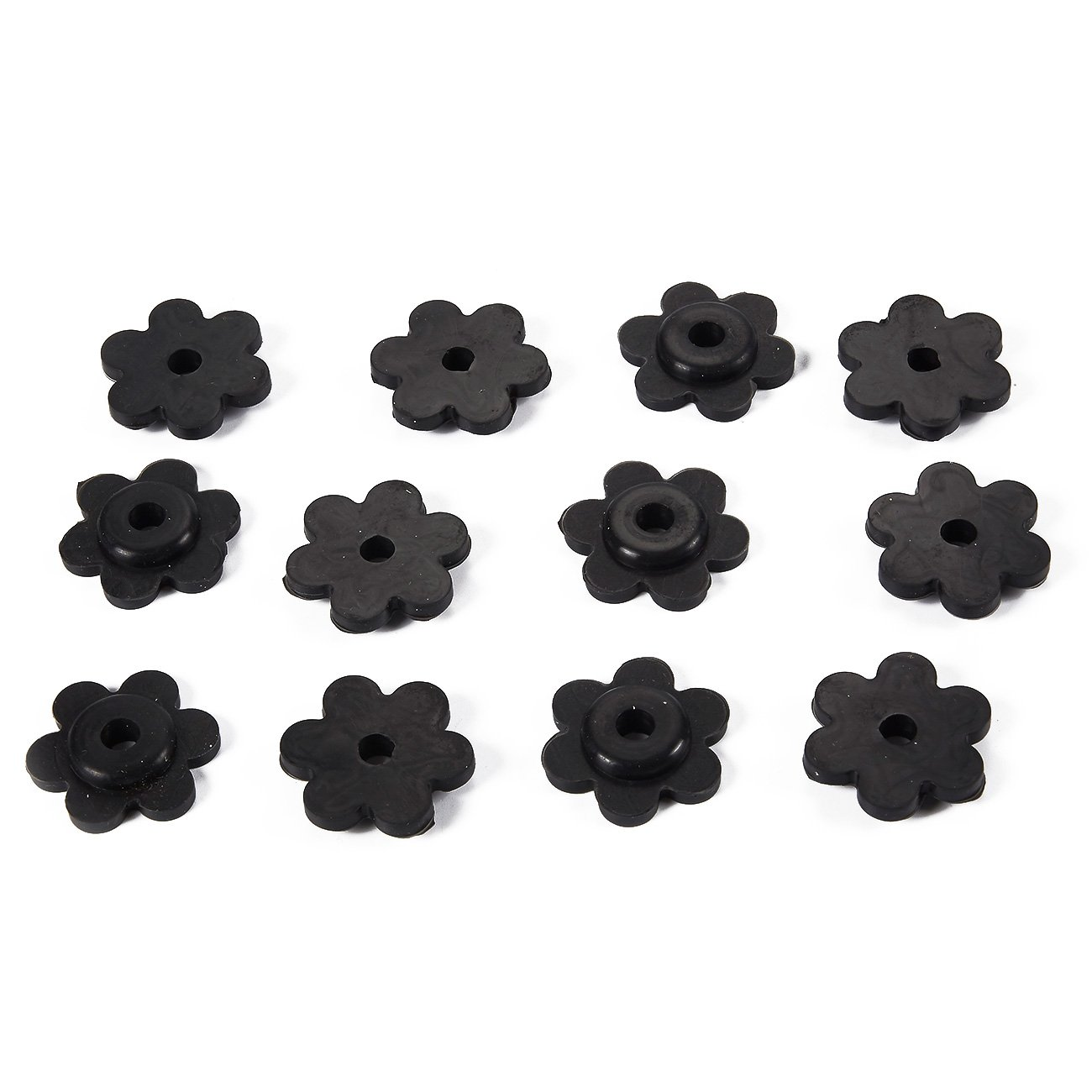 Juvale Garden Flag Pole Rubber Stopper - 12-Pack Petal Shaped Garden Flag Stoppers, Rubber Stopper Set Ideal for Home, Patio and Garden Decorations, Black, 1.25 x 1 x 0.5 Inches