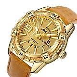 Mens Sport Quartz Watch Gold Luxury Waterproof Leather Date Week Calendar Miltary Classic Wrist Watches