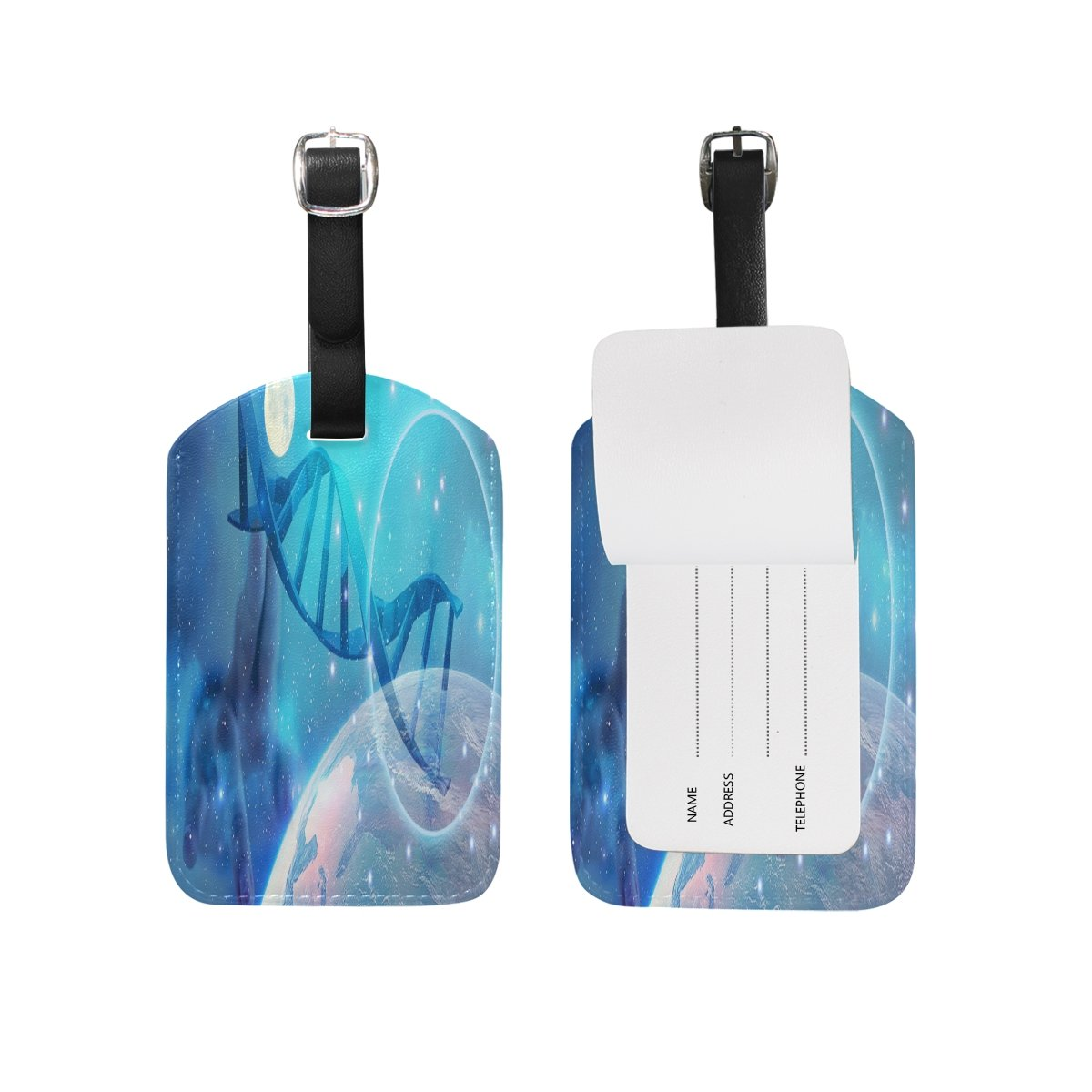 1Pcs Saobao Travel Luggage Tag Science And Technology Intelligence PU Leather Baggage Suitcase Travel ID Bag Tag