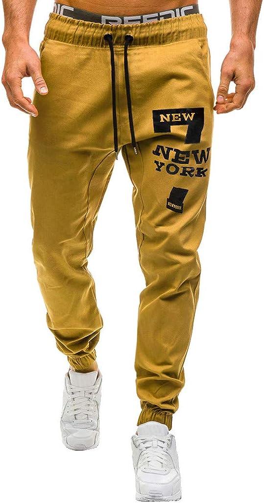 VPASS Pantalones Hombre,Impresión de Letras Pantalones de Chándal Sueltos Ocasionales Running Jogging Pantalon Slim Fit Pantalones Trend Largo Pantalones Ropa de Hombre Pants
