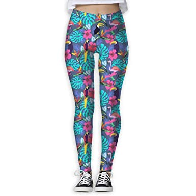 36f872b67f0de1 Running Workout Leggings with Designs - Tropical Plants and Flowers with  Toucan Parrot Prints for Dkhh Storefront at Amazon Women's Clothing store: