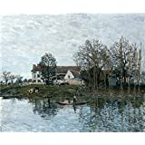 Oil painting 'Alfred Sisley The Seine at Port Marly ' printing on Perfect effect canvas , 18 x 22 inch / 46 x 55 cm ,the best Home Theater decoration and Home gallery art and Gifts is this Beautiful Art Decorative Prints on Canvas
