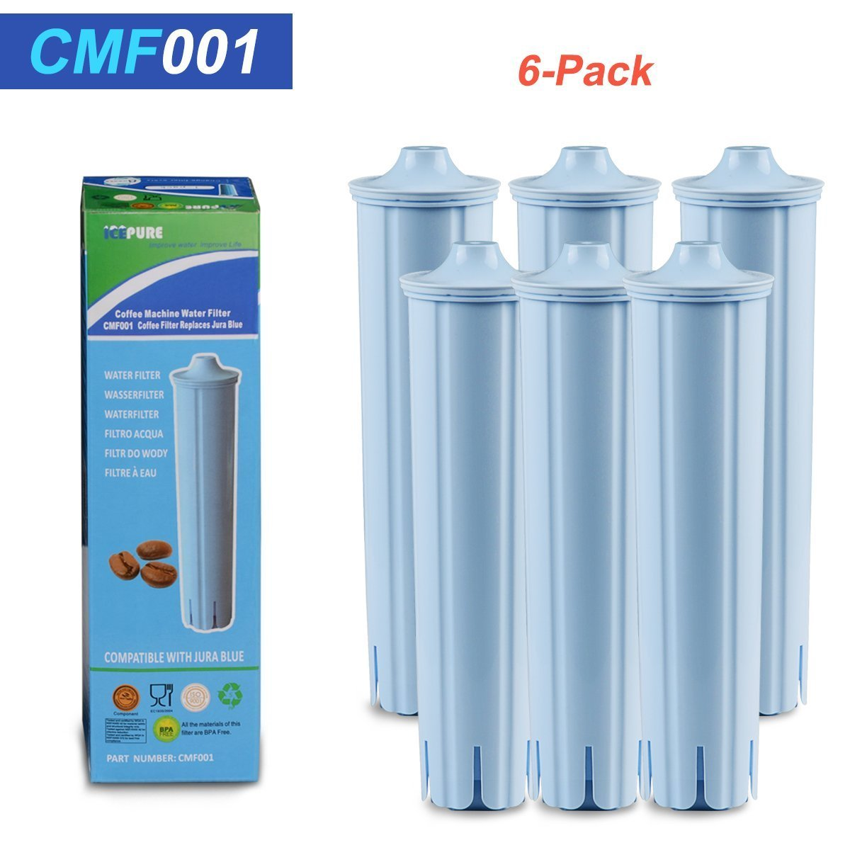 (6 Pack) Jura Clearyl Blue Compatible Coffee Machine Water Filter Compatible With C5, C9 (2nd Gen), J9, Z7, ENA 1, ENA 3, ENA 5, ENA, ENA 9 Jura Espresso Impressa F8, F7, C60, A1, A5, A7, A9, by ICEPURE