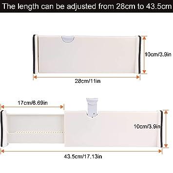 paquete de 6 tocador apto para cocina color blanco oficina 6 separadores de cajones ajustables A+Selected de 17 pulgadas escritorio dormitorio ba/ño separadores de cajones de pl/ástico