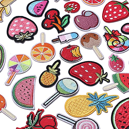 TACVEL 40Pcs Fruit Iron on Patches for Kids Clothing, Fruit Theme Embroidered DIY Sew on Patches for Jackets, Backpacks, Caps, Jeans to Decorate Clothes